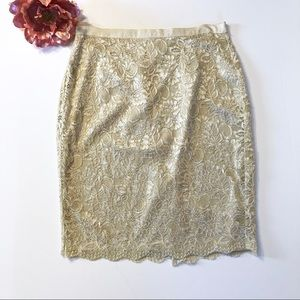 New York & Company Golden Tan Lace Skirt